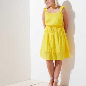 New Ann Taylor Loft 16 Yellow Flutter Sleeve Dress